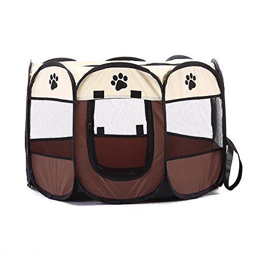 """PlayDo Portable Exercise Kennel With Mesh Shade Cover Fence Tent For Dog/Cat/Puppy (L:35.4""""X35.4""""X23.6"""", Coffee)"""