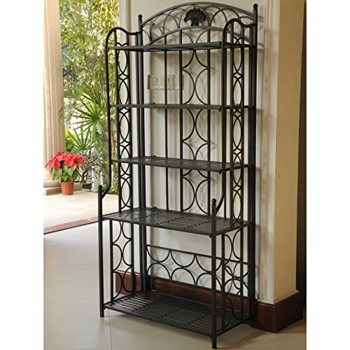 (International Caravan Mandalay Iron 5-Tier Bakers Rack in Black)