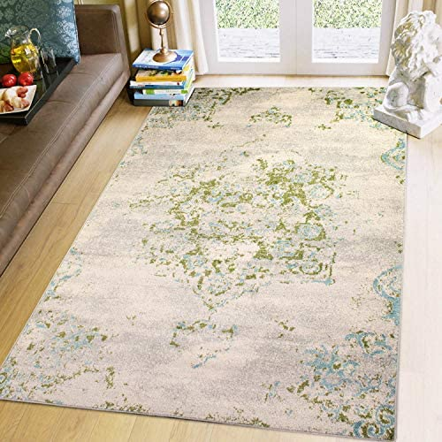 Super Area Rugs 8×10 Ivory, Blue Green Oriental Vintage Area Rug 8 X 10 Carpet Neutral Living Room