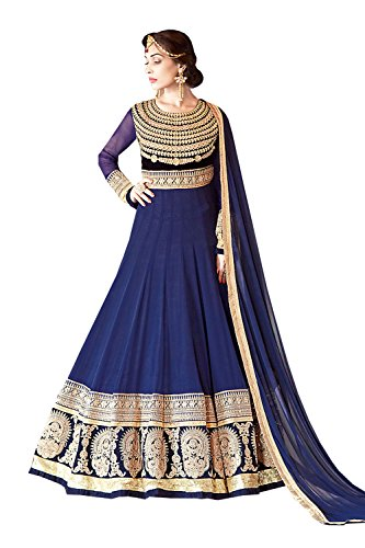 Blue with Sequins Work Astounding Unstitched Salwar Kameez - Shipping Replica Cheap Free Clothing