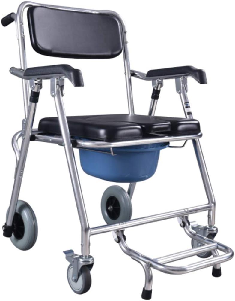 Lonve Silla de Ruedas Ultraligera de la tubería de Acero, Silla móvil Plegable Ligera, para la Persona discapacitada Mayor del Taburete del retrete del Cuarto de baño