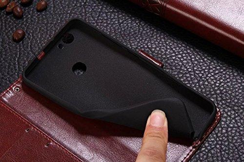 SRY-Conjuntos de teléfonos móviles de Huawei Caso horizontal de la cartera del caso del soporte del tirón de la caja de cuero superior de Huawei Nova Caso retro de la cartera del caso del tirón para H Brown