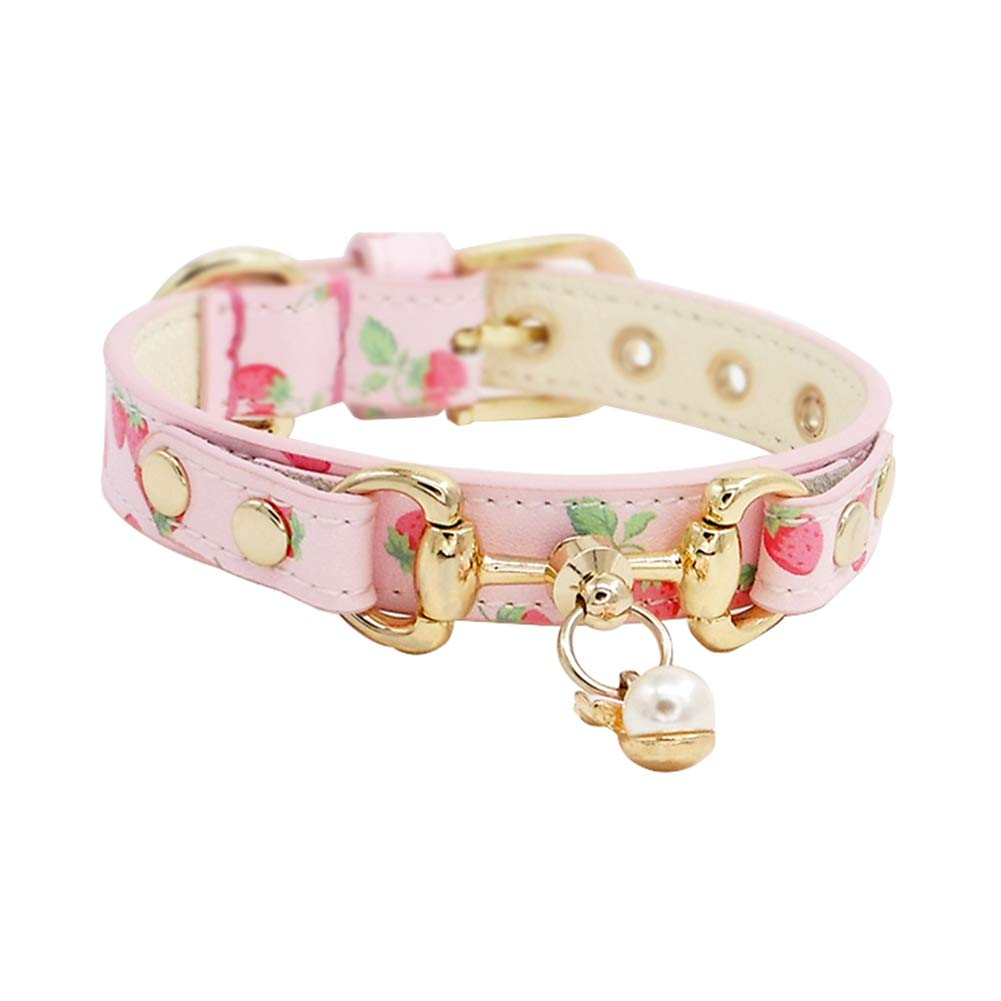 Medium GWM Luxury Leather Dog Collar, Handmade Adjustable Soft Genuine Leather Collar In Pink and Beige With Strawberry Pattern For Small Medium Large Dogs (Size   M)