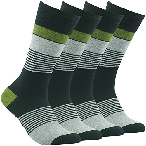 Green Stripe Tennis Dress - Casual Workout Socks,Mens 2 Pairs Soft Breathable Luxury Cotton Blend Stripe Patterned Fashion Designed for School Business Cycling Crew Socks Vive Bears