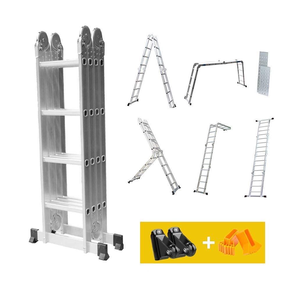 4.7m /Échelle Pliant Multifonction Dripex T/élescopique en Aluminium /Échelle Extensible Charge 150 kg +16 /Échelons+2 Panneaux Outil Bricolage