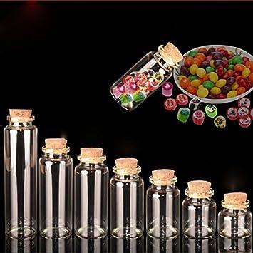 GreenSun (TM) 20pcs 10 ml ~ 55ml botella de cristal pequeño vacío Borrar Cork