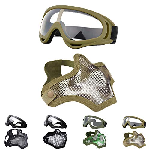 Outgeek Airsoft Half Face Mask Steel Mesh and Goggles Set for Halloween and Xmas (Khaki Set)]()