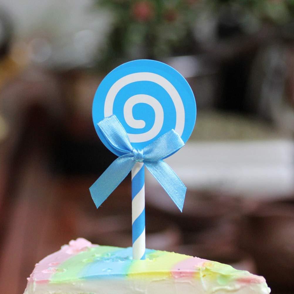 12 Adornos para Cupcakes con Forma de piruleta YeahiBaby decoraci/ón para Tartas de cumplea/ños