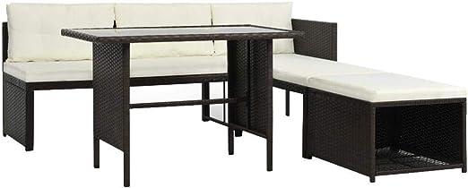 Wakects Set de Sofás de Jardín,Set de Muebles de jardín 4 Piezas ratán sintético marrón,187 x 125 x 66 cm (Ancho x Profundo x Alto): Amazon.es: Hogar