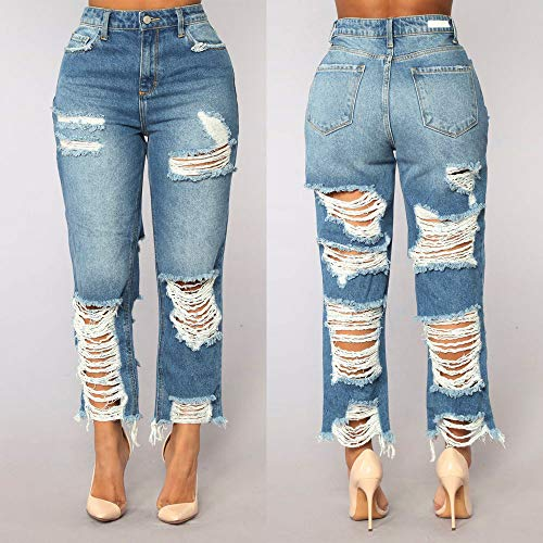 Haute Clair Mince Longueur Trou Beikoard Veau Pantalon Mode Jeans Jeans Femme Taille Casual Bleu Jeans Haute Denim Jeans Stretch Taille YBRCHSWB