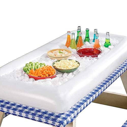 Inflatable Serving Bar Salad Ice Tray Food Drink Containers, BBQ Picnic Buffet & Camping for Indoor Outdoor Party, White, 53
