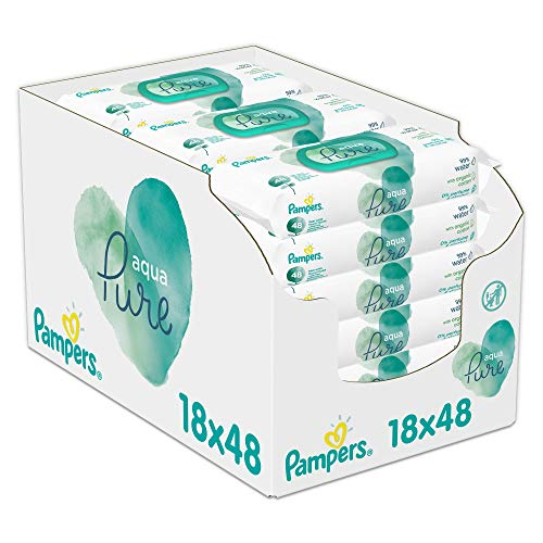 Pampers Aqua Pure Billendoekjes, 864 Babydoekjes, Gemaakt met 99% Puur Water, Dermatologisch Getest (18 x 48 Doekjes)