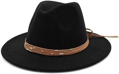 Fedora Hat for Women Lady Elegant Wool Wide Brim Floppy Felt Trilby Chapeau Casual Bowler Hat