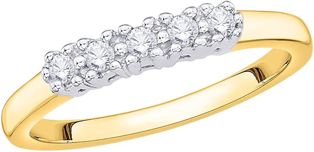 Diamond Wedding Band in 10K Yellow Gold Size-12 G-H,I2-I3 1//6 cttw,