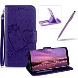 PU Leather Case For Samsung Galaxy S9,Strap Magnetic Wallet Folio Cover for Samsung Galaxy S9,Herzzer Elegant Slim Purple [Love Hearts Flower Embossed] Stand Phone Case