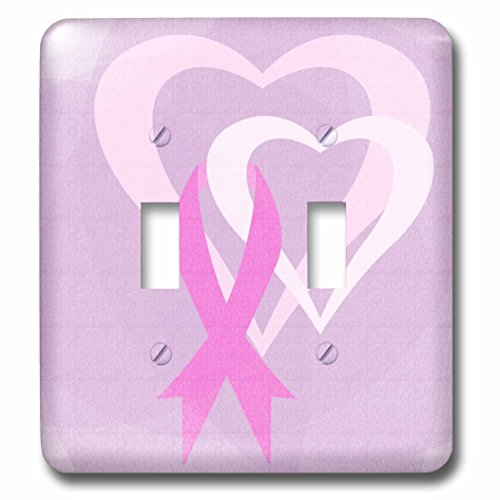 3dRose lsp_79099_2 Pink Ribbon Hearts Breast Cancer Awareness Inspirational Art Double Toggle Switch ()