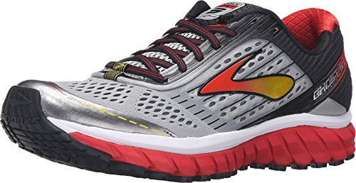 Brooks Men's Ghost 9 Alloy/High Risk Red/Black 14 D US