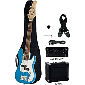 raptor 3 4 size 38 inch kids child 4 string electric p bass package blue with 5w. Black Bedroom Furniture Sets. Home Design Ideas