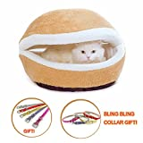Hamburger Pet Cats Beds Kitty Cat Dogs Litter Shell Nest Sleeping Bag Sofa Removable Thermal Hiding Burger Bun for Pets (Beige, S) Larger Image