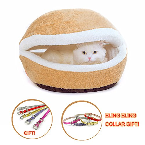 Hamburger Pet Cats Beds Kitty Cat Dogs Litter Shell Nest Sleeping Bag Sofa Removable Thermal Hiding Burger Bun for Pets (Beige, S)
