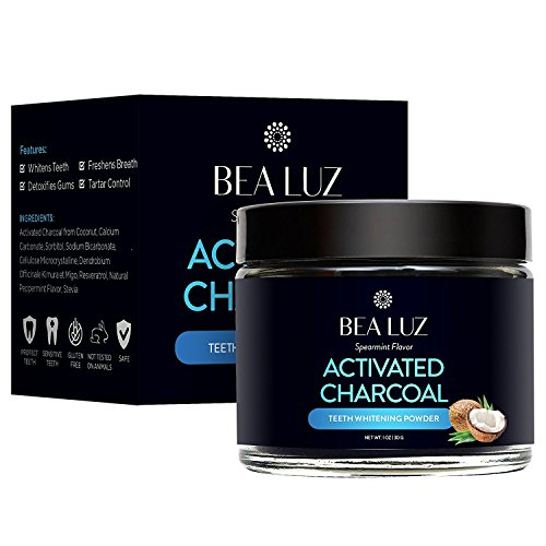Teeth Whitening Activated Charcoal Powder - From Organic Coconut Shell and Food Grade Formula - All Natural Spearmint Flavor Tooth Whitener (30g) by Bea Luz