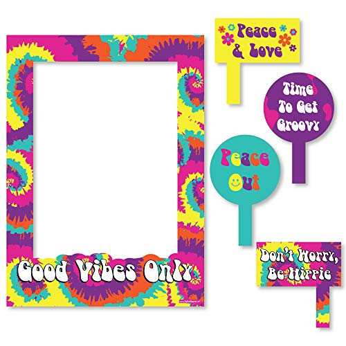 Big Dot of Happiness 60's Hippie - 1960s Groovy Party Selfie Photo Booth Picture Frame & Props - Printed on Sturdy Material]()
