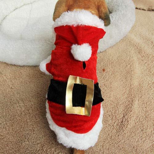L FidgetFidget Pet Puppy Christmas Clothes Santa Claus Costume Outwear Coat Apparel Hoodie Gift L