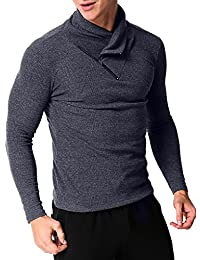 Men's Casual T Shirt Slim Fit Turtleneck Shirts Pullover Button Collar Sweaters Tops