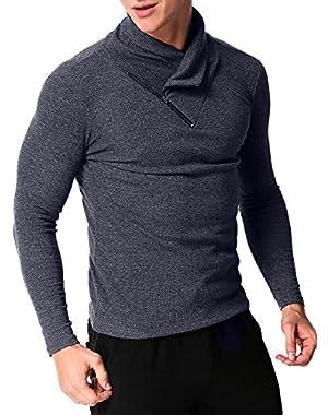 Men's Long Sleeve T Shirt Button Henley Tee Pullovers Hoodie Casual Sweatshirt Slim Fit Turtleneck Tops