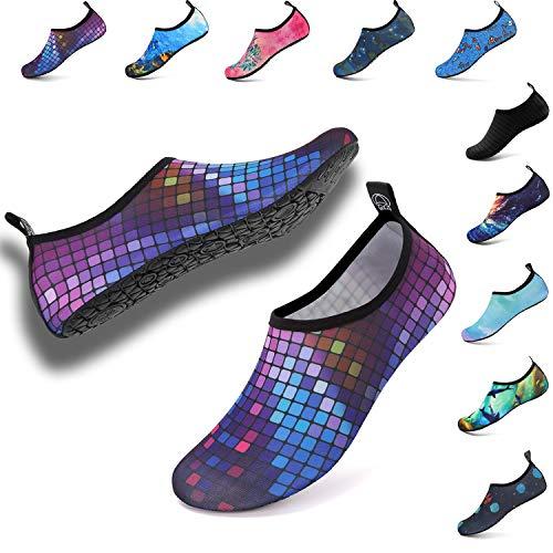 Deevike Aqua Water Shoes Women Men Swim Shoes Quick-Dry Barefoot Skin Socks Beach Surf Boat Yoga Exercise Colorful Square EU40/41 ()