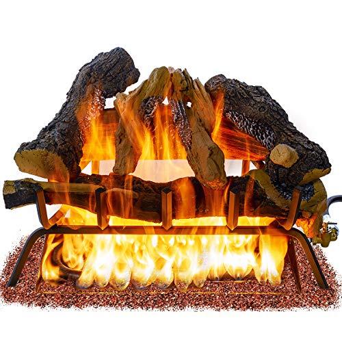 Barton Premium 24-inch Vented Natural Gas Log Set Burner Dancing Flame Glowing Ember ANSI Burner, 55,000 BTU