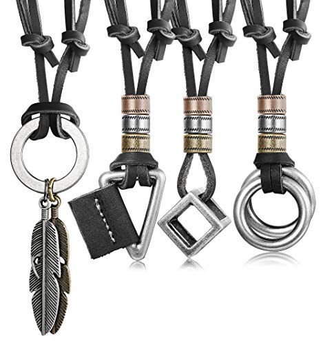JOERICA Leather Necklace for Men Women Pendant Necklace Bracelet ()