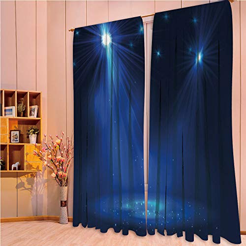 ZHICASSIESOPHIER Finel Kids Curtains for Living Room Bedroom Window Curtains Baby Room Lovely Children Curtains Drapes,Night Club Studio Theater Show Fame Performance,Dark 108Wx95L Inch ()