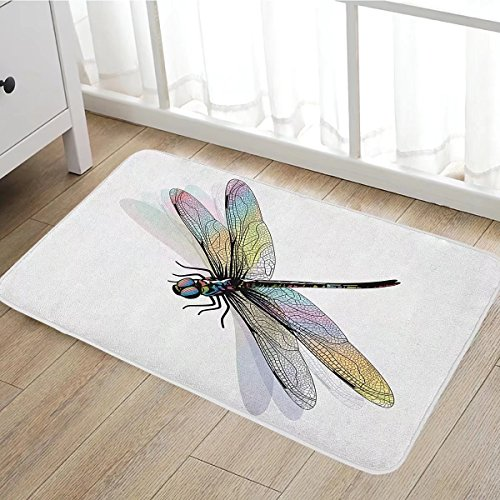 Dragonfly door mats for inside Shady Dragonfly Pattern with Ornate Lace Style Spiritual Beauty Wings Design Bath Mat for tub Bathroom Mat 16