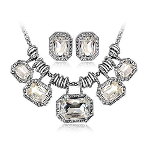 IUHA Cubic Zirconia Goddess Eye-catching Statement Necklance and Earrings Luxury Jewelry Sets Party Wedding Prevent allergies Gift by IUHA