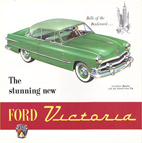 1951 FORD VICTORIA FACTORY DEALERSHIPS SALES BROCHURE - ADVERTISEMENT - Includes CONVERTIBLE & SEDAN - , Features, Engines, Upholstery, Transmission, Body, Equipment, Interior, Exterior, Brakes, etc.