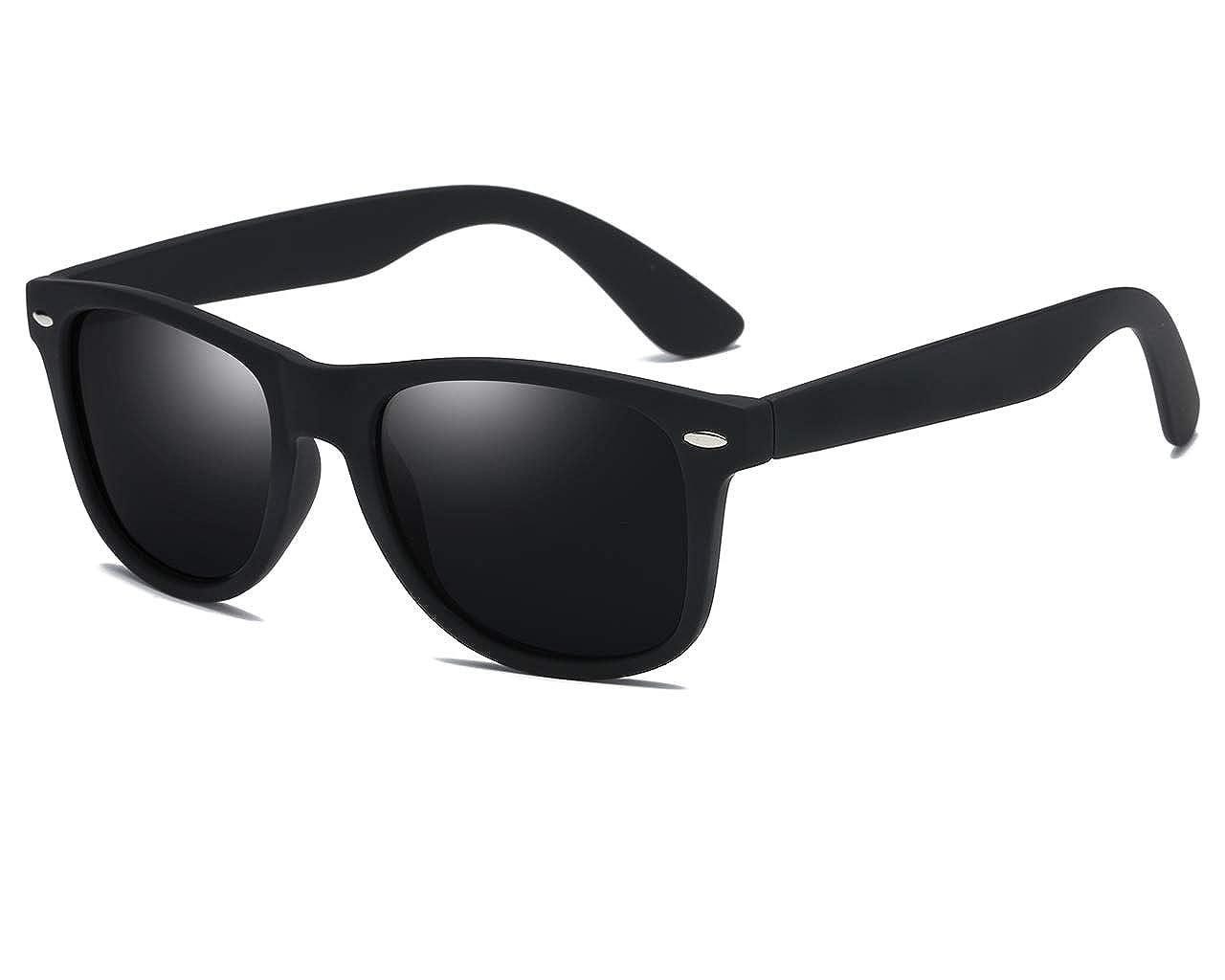 70a2d98eb38 Amazon.com  SIKYGEUM Polarized Sunglasses for Men Women Retro Wayfarer  Black HD Vision UV400  Clothing