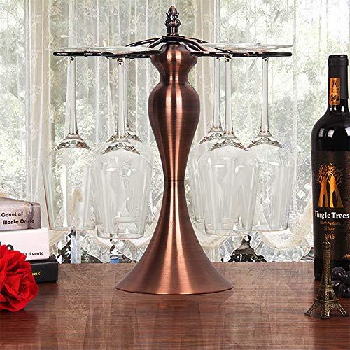 (YF Goblet Wine Rack 6 Goblet Upside Down Hanging Goblet Rack Wrought Iron Twisted Red Stemware Wine Glass Rack Shelving Shelf Ornaments Red Wine Cup Holder Hanging Rack Shelf Bar Dining Home)