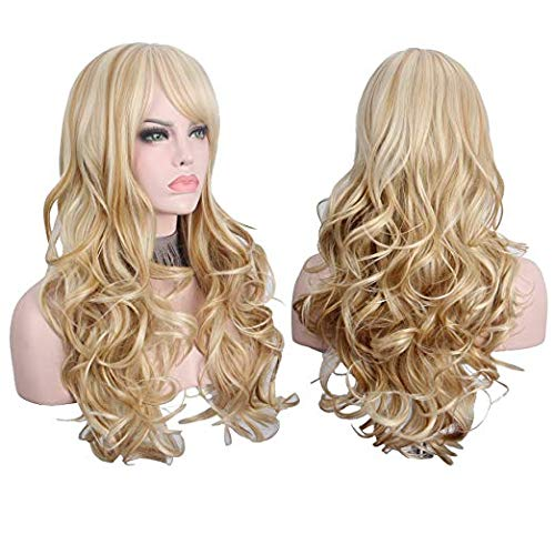 Women's 2 Tones Ombre Wig Mixed Color Bleach Blonde & Strawberry Blonde Big Wave Curl Long Natural Wavy Synthetic Hair Fabulous Curly Wigs (Bleach Blonde & Strawberry Blonde) ()