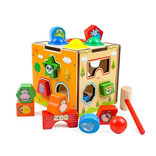 GEDIAO Wooden Learning Hammering & Pounding Toy with Four Balls Educational Toys Set, Developmental Activity Cube Animal Shape Sorter Blocks for Kids Toddlers