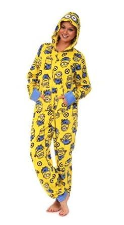 130f9534f8a3 Minions Women s Fleece 1 Piece Pajama Sleeper Hooded Pajamas (XXL 20 ...