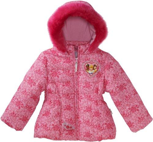 Disney Princess Little Girls'  Princesses All-Over Puffer Coat