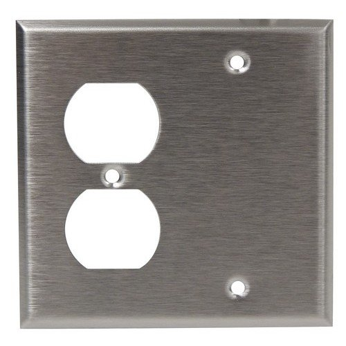 Morris 83862 304 Wall Plate, 2 Gang with 1 Blank, 1 Duplex, Stainless Steel