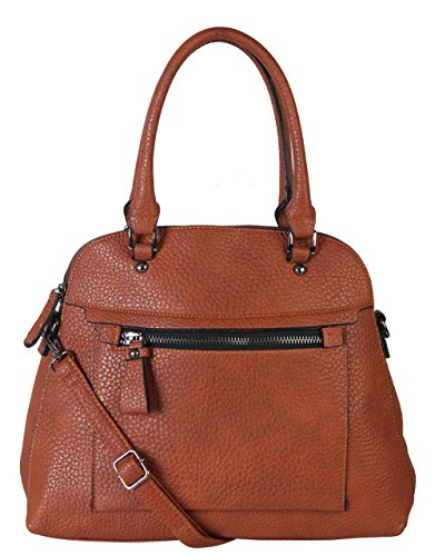 Diophy PU Leather Large Front Zipper Pocket Womens Tote Purse Handbag Accented with Removable Strap ZD-2499 LZ-2992 MY-3344 B105-1 GS-2996 GS-2997 ZD-2498 (ZD-2498 Brown-1)