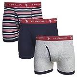 U.S. Polo Assn. 3 Pack Cotton Boxer Brief Mood Indigo/Mood Indigo Stripe/Heather Grey L