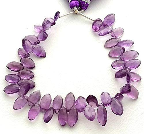 Natural Amethyst Faceted Marquise Shaped Beads, Amethyst Gemstone - 5x9 mm to 6x13 mm, 8 inch