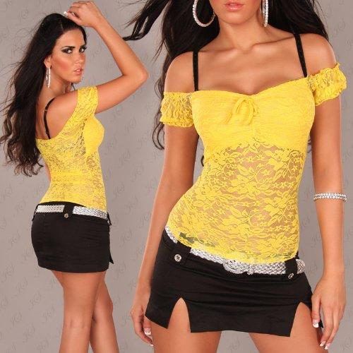 Spitzen-Latina-Top mit Carmen-Ausschnitt, gelb