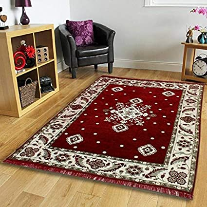 Choice Homes Velvet Touch Abstract Chenille Carpet - 55x80, Maroon