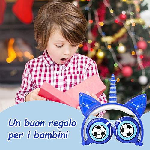 Ifecco Cuffie per Bambini, Cuffie Unicorno Pieghevoli con Luci LED Regolabile del Gatto, Cuffie Over-Ear Cablata, Halloween & Regalo di Natale per Bambini (Calcio Blu)