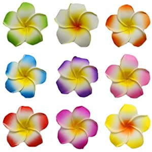 Flyusa 100 Pcs Hawaiian Foam Artificial Plumeria Rubra Hawaiian Flower Petals For Wedding Party Decoration 112